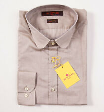 NWT $350 ETRO MILANO Superfine Beige Cotton Shirt 39/M Button-Front + Gift Box