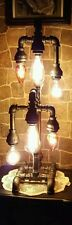 Handcrafted Industrial Pipe six bulb Tier Lamp steampunk style with vintage bulb