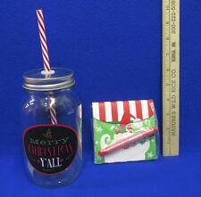 New Mason Jar Red Neck Guzzler Christmas Mug w/ Straw & Santa Stationery w/ Pen