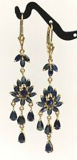 14k Solid Yellow Gold Leverback Cluster Dangle Earrings,Natural Sapphire 4.8TCW