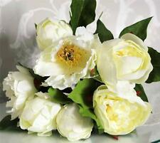 PRETTY IVORY CREAM PEONY ARTIFICIAL SILK FLOWER BUNCH BOUQUET WEDDING BRIDAL