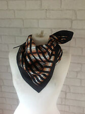 Vintage 1970's Black and Brown Stripe Square Square Yard Scarf