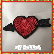 2 x Arrow Through Red Heart Sequin 8cm Iron / Sew On Embroidered Cloth Patch