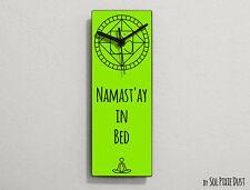 Namast'ay In Bed - Green Funny Wall Clock