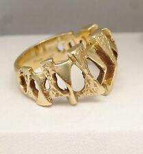 Large Chunky Mens Modernist Abstract Nugget Band Ring Solid 14K Yellow Gold 10.5