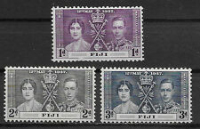 FIJI , CORONATION ISSUE,1937 , GEORGE VI & ELIZABETH , SET OF 3 ,  PERF , MNH