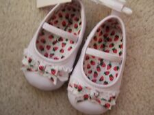NEW Girls Baby Dress Shoes White Slip On with Strawberry Bows Size 2 SO CUTE