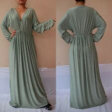 NWT Vneck Light Green Long Sleeve Maxi Dress Casual Cocktail Club Wear Sz 4XL
