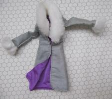 "Bratz 10"" High Fashion clothes~Long Gray Winter Coat w/Fur Trim Purple Lining"