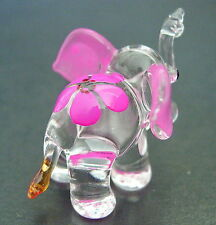 Little Glass ELEPHANT Pink Ears & Flower Cute Glass Animal Glass Ornament Figure