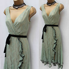 KAREN MILLEN TEAL VINTAGE STYLE PARISIAN DOWNTON ABBEY LACE COCKTAIL DRESS UK 10