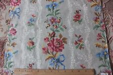 Country French Antique c1870 Floral&Ribbon Home Dec Printed Fabric Sample c1870