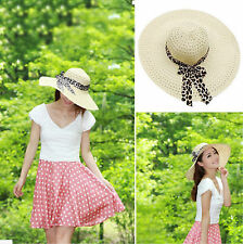 Straw Beach Cap Summer Sun UV Protection Breathable Windproof Collapsible Beige