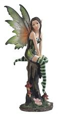 "8"" Inch Green Forest Fairy with Mushrooms Statue Figurine Figure Fantasy Magical"