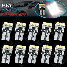 10 X HID White T10 9-SMD Wedge Dome Map LED Light Bulbs W5W 168 194 2825 161 12V
