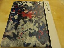 new~Frosty Clear Navy Blue~Red BLOTCHY abstract look PEVA vinyl SHOWER CURTAIN~
