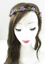 Purple Rose Flower Hair Crown Headband Headdress Garland Boho Plait Festival B13