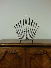 Spear set made in Africa; all metal, decorative handcrafted.