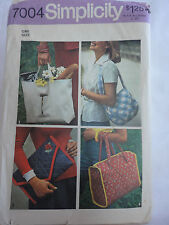 Simplicity 1970's  Vintage Hand Bag Sewing Pattern 4 Different Styles Cuties