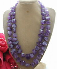 """R041511 Natural 21"""" Amethyst Faceted Nugget Necklace"""