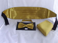 Shiny Polyester GOLD Bow Tie Cummerbund and Hankie Set Over 60 Colours Available