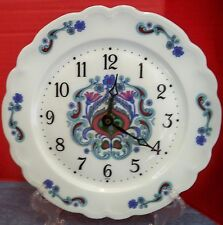 "Vintage Limoges France Le Trefle Porcelain Plate Wall Clock 9 5/8"" D Noblesse"