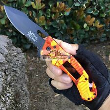 Mtech USA OrangeCamo Handle Solar Pannel LED Light Rescue Pocket Knife MT-A887OC