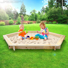Sand Pit Sandbox Sand Box Pit Wooden Hexagonal Outdoor Child Kid Play Toy Garden