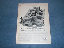 "1965 Ford 427 Engine Vintage Ad ""...Too Close To A Swiss Cheese Factory"""