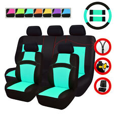 Universal Car Seat Covers Mint Blue Steering Wheel Cover Fit For Toyota Holden