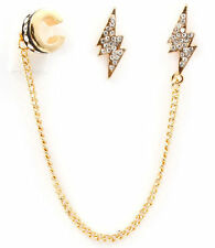 Lightning Bolt Pierced Earrings With A Attached Chain Ear Cuff ~ Gold Plated