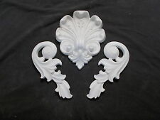 TWO SILICONE RUBBER MOULDS ORNATE MOULDING SET SCROLLS AND CENTER PIECE