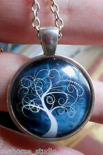 "Tree of Life ~ glass tile & metal round picture PENDANT & 20"" necklace chain"
