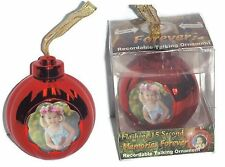Memories Forever 15 Second Recordable Red Christmas Holiday Photo Ornament