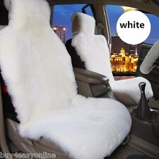 1pc Genuine Real White Pelt Sheepskin Fur Car Seat Cover One Size Fits Most Cars