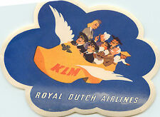 KLM ROYAL DUTCH Airlines - Clever Old FLYING SHOE Luggage label, c. 1955