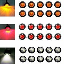 "30X Red Amber White Mini 12V 3/4"" Round Side 3 LED Marker Trailer Bullet Light"