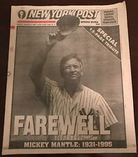 NYPost Aug 14,1995 Mickey Mantle 1931-1995 Full Paper With 12 Page Tribute
