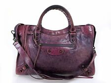Authentic BALENCIAGA The City 2Way Hand Bag Leather 115748 Purple 33130