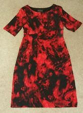 """41"""" Shift Pencil Knee length Red & Black Faux Wrap Dress Size 14 Stretchy"""