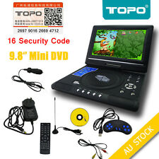"TOPO Brand New AU 9.8"" Portable DVD Player DivX,Swivel, USB,SD,300 GAMES"