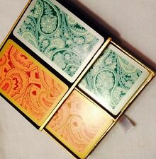 Vtg Congress Playing Cards Canasta Gin Rummy Double Deck Case Pink &Teal Paisley