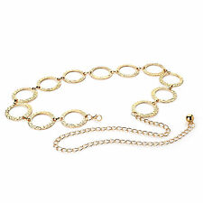 LADIES RETRO BOHO 70s STYLE EMBOSSED ROUND DESIGN CHAIN LINK BELT GOLD COLOUR