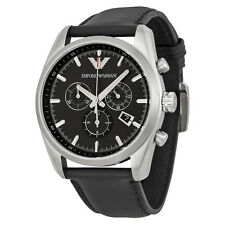Emporio Armani Black Dial Black Leather Strap Mens Watch AR6039