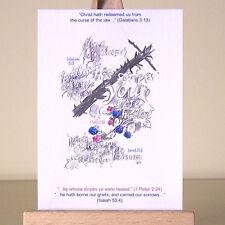 Christian Art curación escrituras forma de la Cruz y la Biblia versos ACEO tarjeta