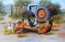 Vintage art Chickens old Tractor by C Whitfield