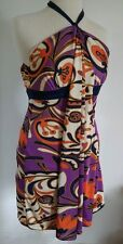P NWT $320 BETSEY JOHNSON Retro Style Ribbon Halter Dress Multi Color SIZE 0 ANB