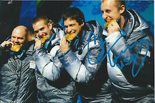 Curtis Tomasevicz Signed 4x6 Sochi USA Bobsled Vancouver Olympics Gold Medal