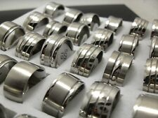 10x Silver Mix 10MM Men Stainless Steel Rings Wholesale Fashion Jewelry Job lots