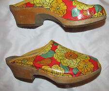 vintage 70's Hippie FLOWER POWER floral leather with wooden platform clogs shoes